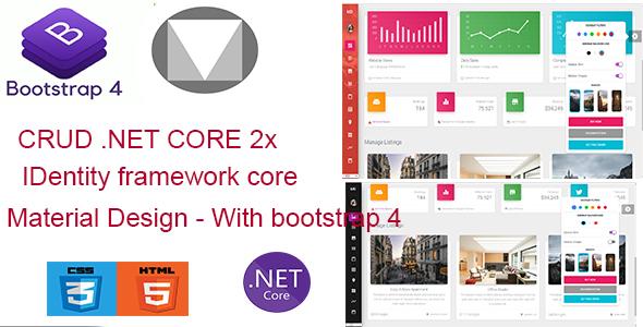 Material Dashboard - NET Core Admin Template  + CRUD
