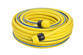 Yellow coiled rubber garden hose with quick-connector system isolated on white background - PhotoDune Item for Sale