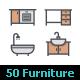 50 Furniture & Decor Full-Color Icon - GraphicRiver Item for Sale