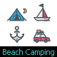 50 Beach & Camping Full-Color Icon - GraphicRiver Item for Sale