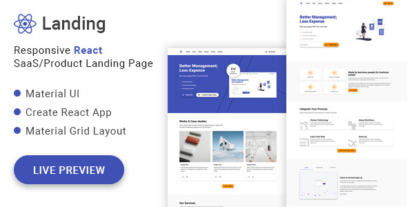 React Landing - Material UI React SaaS/Product Landing Page