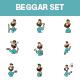 Cartoon Beggar Stickers - GraphicRiver Item for Sale