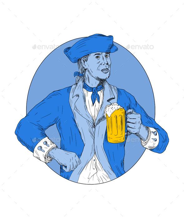American Patriot Holding Beer Mug Oval Drawing