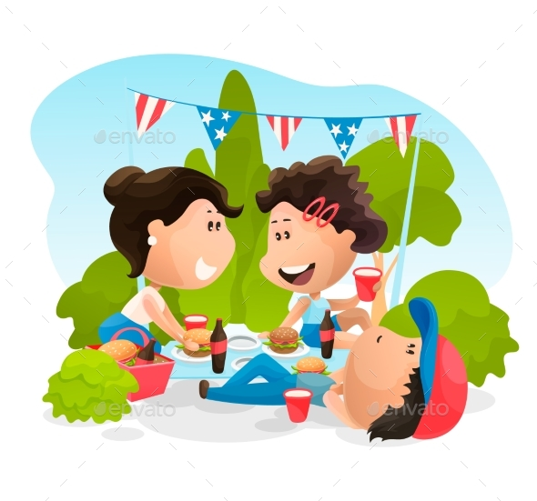 People at the Celebrating Picnic on 4th of July