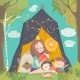 Mum and Her Kids Reading Book in a Tepee Tent