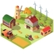 Farmyard with Buildings and Machines Vector - GraphicRiver Item for Sale