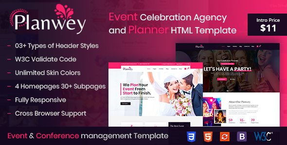 Planwey – Event Planner & Celebrations Management HTML Template Free Download