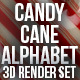 Candy Cane Alphabet 3D Render Set - GraphicRiver Item for Sale