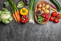Fresh organic vegetables on rustic background - PhotoDune Item for Sale