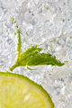 Fresh mint leaf and a slice of lime with bubbles in a glass with ice. Macro photo of refreshing - PhotoDune Item for Sale