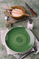 wooden bowl with rice and asian chopsticks in green setting - PhotoDune Item for Sale