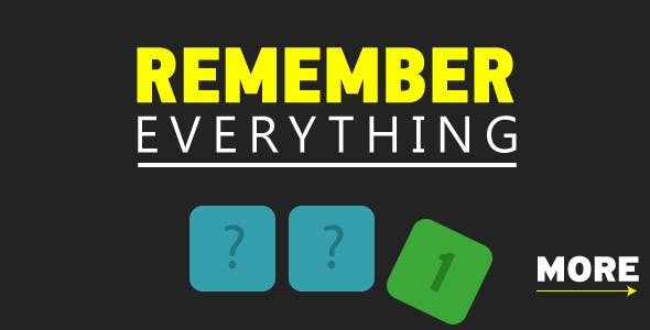 Remeber everything - HTML5 Game. Construct 2. AdSense ready. Mobile Download