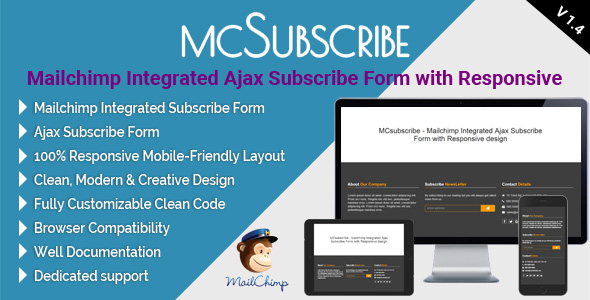 MCsubscribe - Mailchimp Integrated Ajax Subscribe Form with Responsive design