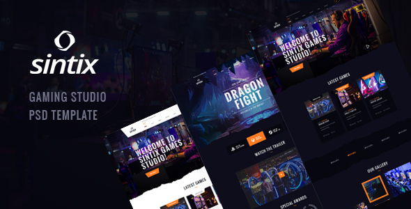 Sintix - Gaming Studio PSD Template