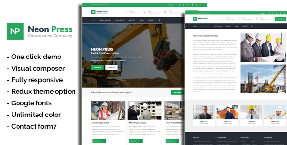 NeonPress - Business Construction WordPress Theme