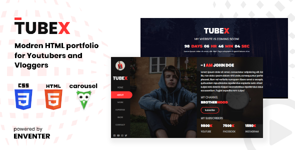 Tubex - Html Portfolio For Vlogger and Youtuber
