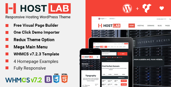 HostLab - Hosting Service And WHMCS WordPress Theme