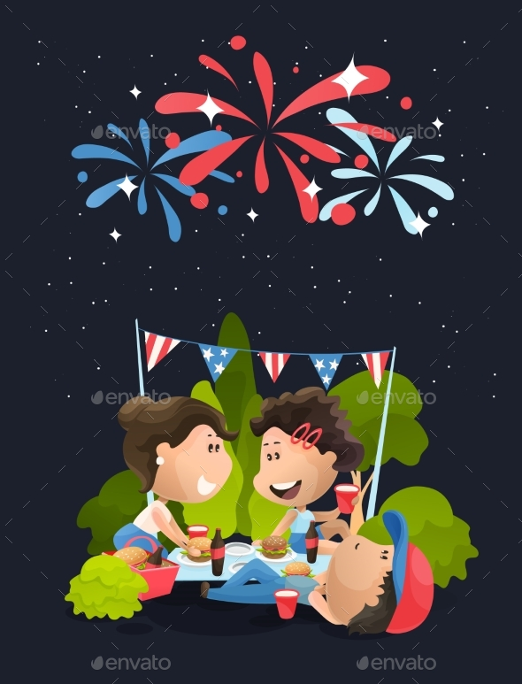 Late Night Celebrating Picnic at 4th of July