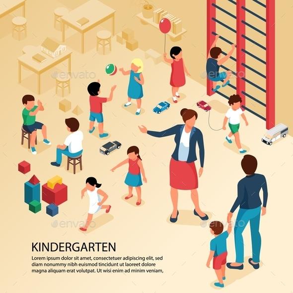 Kindergarten Children Isometric Composition