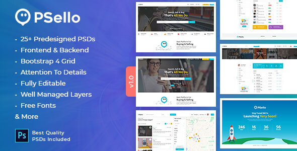 Psello - Classifid Ads Marketplace PSD Template
