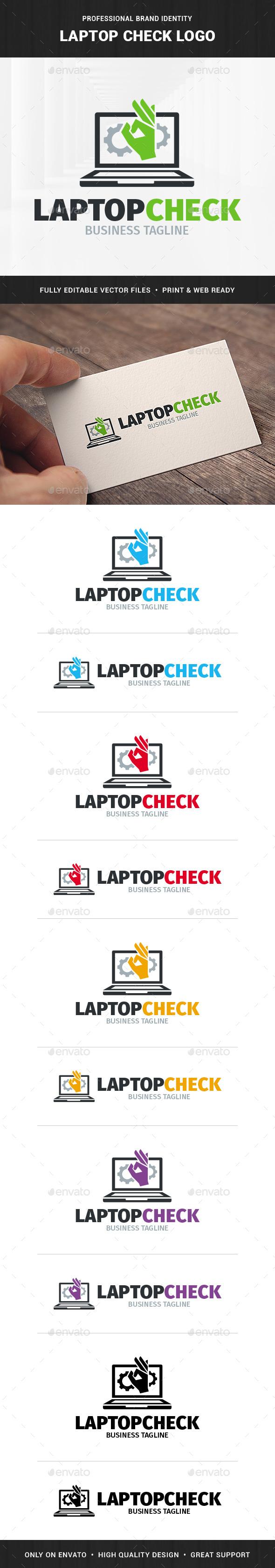 Laptop Check Logo Template