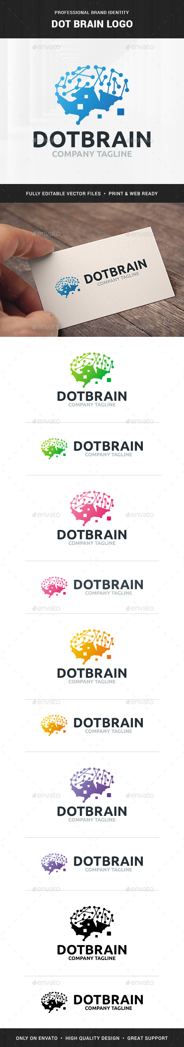 Dot Brain Logo Template