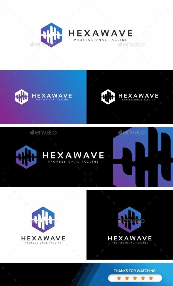 Hexagon Sound Wave Logo