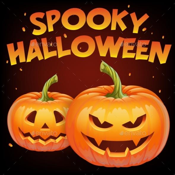 Spooky Halloween Banner with Halloween Pumpkin