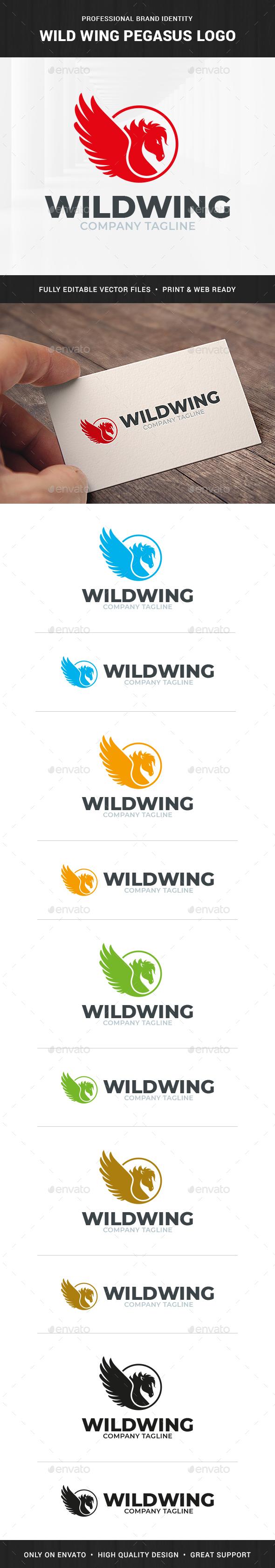 Wild Wing Pegasus Logo Template