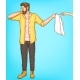 Shy Man Cover Eyes with Hand Giving Towel To Woman - GraphicRiver Item for Sale