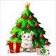 White and Pink Mouse with Fir Tree on White - GraphicRiver Item for Sale