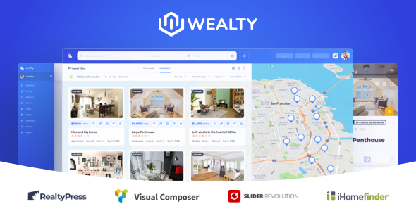 Wealty – Responsive Real Estate WordPress Theme with MLS / IDX for Agency or Agent Free Download