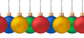 Row pf hanging Christmas baubles isolated (seamless horizontall - PhotoDune Item for Sale