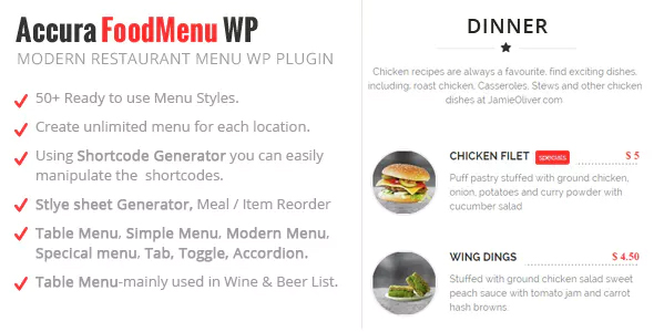 Accura FoodMenu WP - Modern Restaurant Food Menu Download