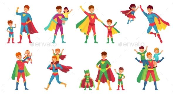 Cartoon Father Superhero
