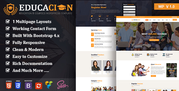 Educacion – Education Course WP Free Download