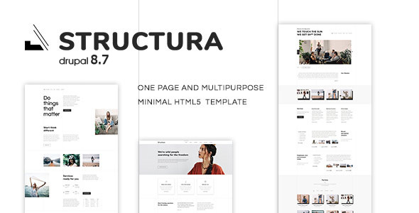 Structura - One Page And Multipurpose Minimal Drupal 8.7 Theme