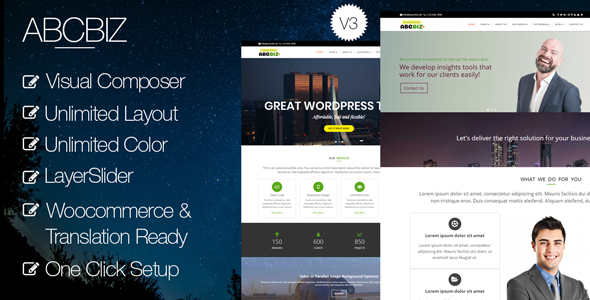 Abcbiz - Responsive WordPress Theme for Business
