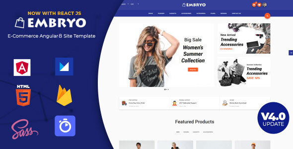 Embryo - Angular 8 Material Design eCommerce Template | React JS
