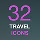 Travel Line Icons for Web and Mobile. White icons isolated on a dark background. - GraphicRiver Item for Sale