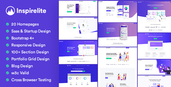 Inspirelite Responsive Template for SaaS, Startup, & Web app