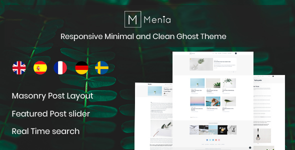 Menia - Responsive Minimal and Clean Ghost Theme