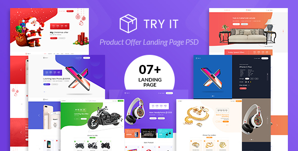 Tryit - Product Offer Landing Page PSD Template
