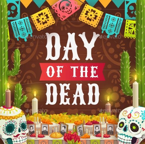 Day of Dead Mexican Calavera Catrina Skull
