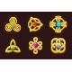 Golden Celtic Symbols with Gems. Cartoon Set - GraphicRiver Item for Sale