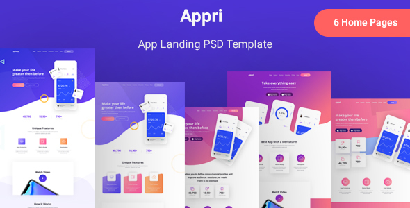 Appri - App Landing PSD Template