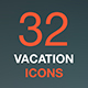 Summer vacation thin line icon set. Holiday leisure concept. - GraphicRiver Item for Sale
