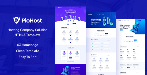 Piohost - Domain and Web Hosting HTML5 Template