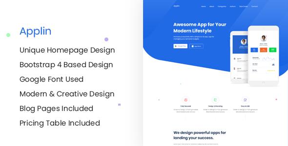 Applin - Multipurpose Landing Page and Blog Jekyll Template