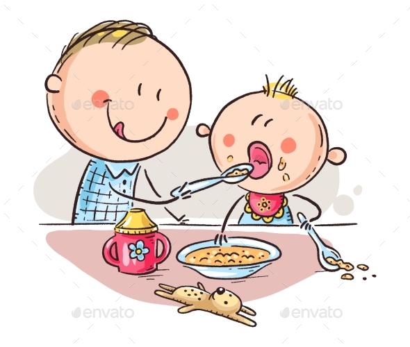 Father Feeding Baby, Vector Illustration